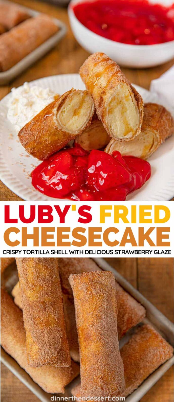 Luby's Fried Cheesecake collage