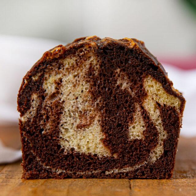 Slice of Marble Pound Cake with chocolate cake and vanilla cake