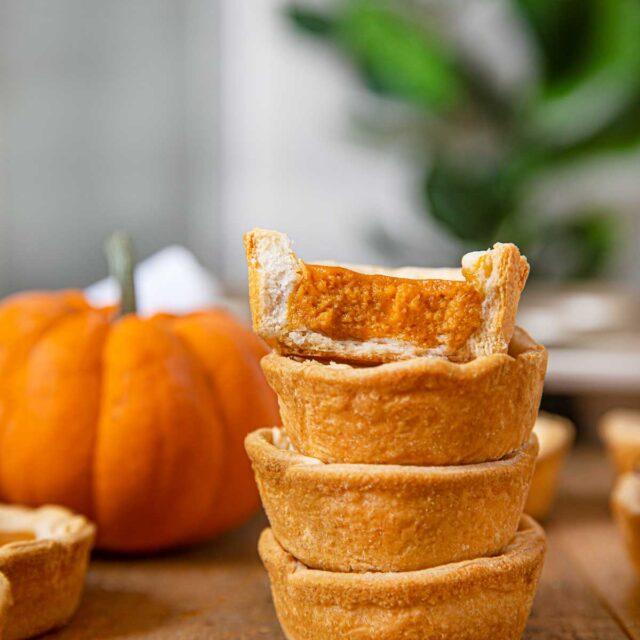 Mini Pumpkin Pies in a stack