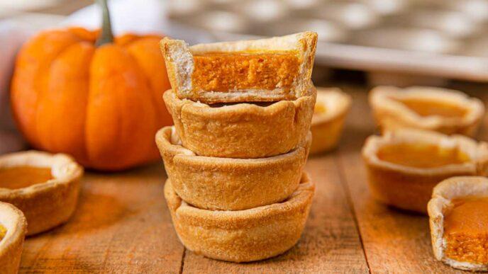 Mini Pumpkin Pies on cutting board