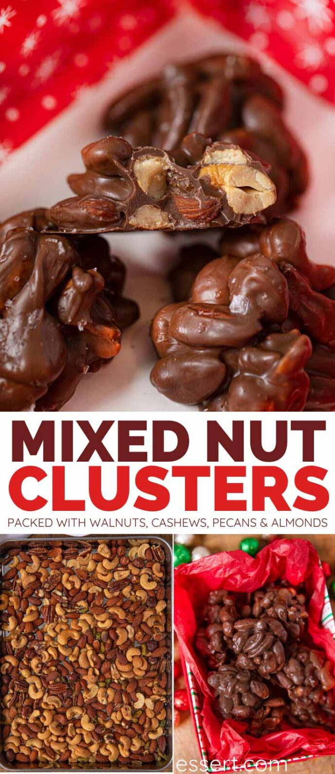 Chocolate Nut Clusters collage