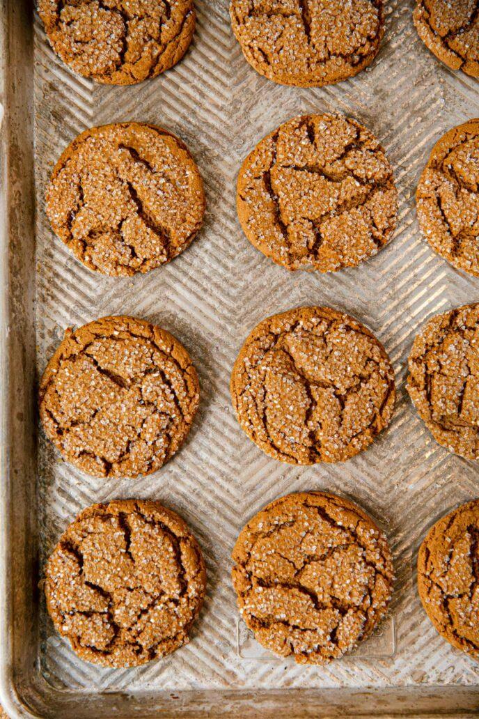 Sheet tray full of sugar covered Molasses Cookies