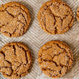 Molasses Cookies on cookie tray
