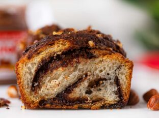 Nutella Swirl Bread with Crushed Hazelnuts