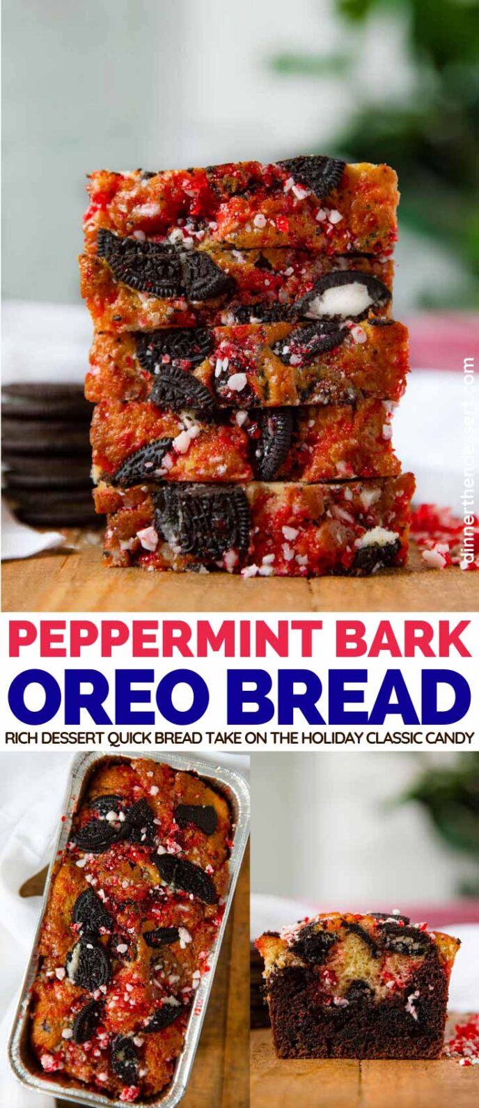 Peppermint Bark Oreo Bread collage