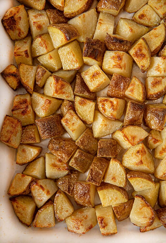 Crispy Roasted Potatoes with Salt and Vinegar Flavoring in baking dish
