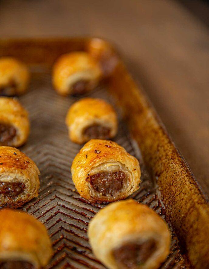 Sheet Pan with Sausage Rolls