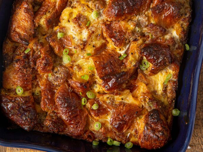 Sausage And Egg Croissant Breakfast Casserole