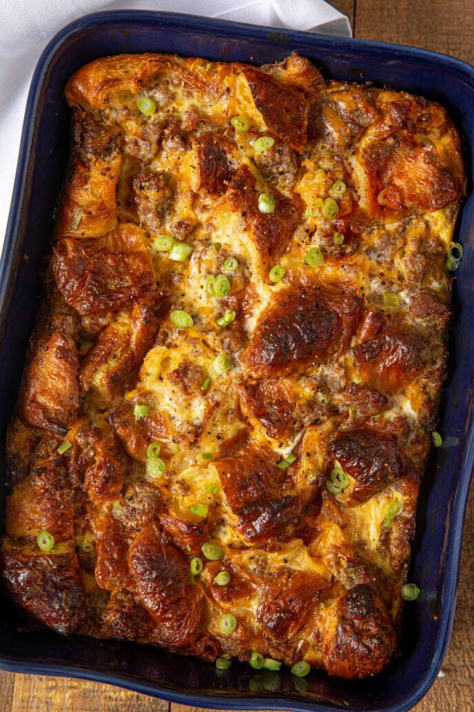 Sausage Breakfast Casserole with Croissants