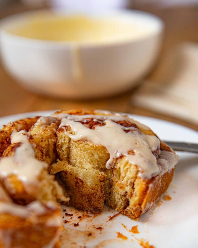 Crockpot Cinnamon Roll on plate