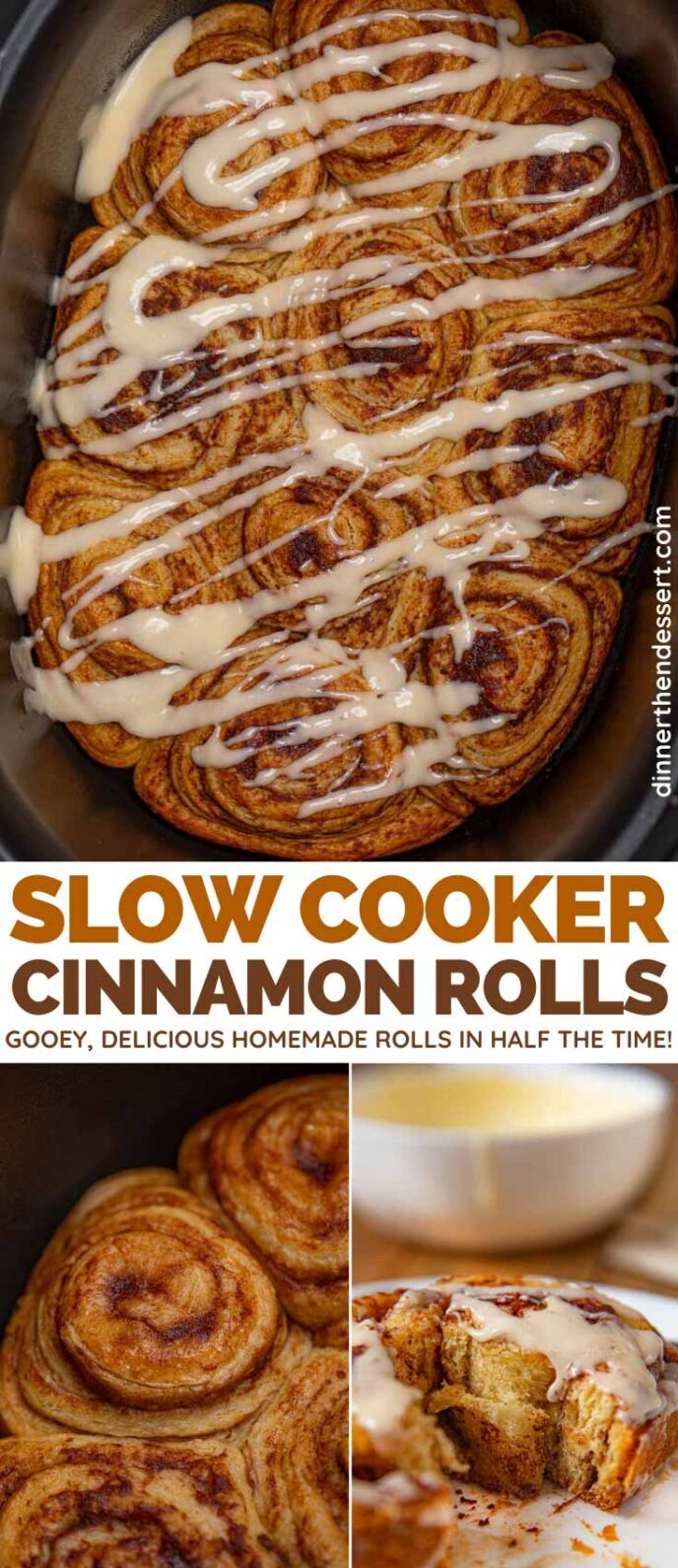 Slow Cooker Cinnamon Rolls collage