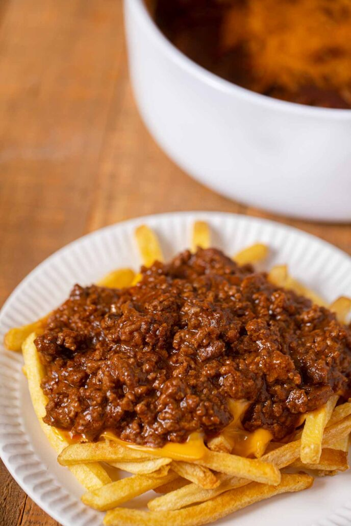 Tommy's Chili over a plate of French fries