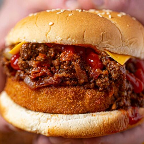 Bacon Cheeseburger Sloppy Joes with BBQ Sauce and Onion Rings