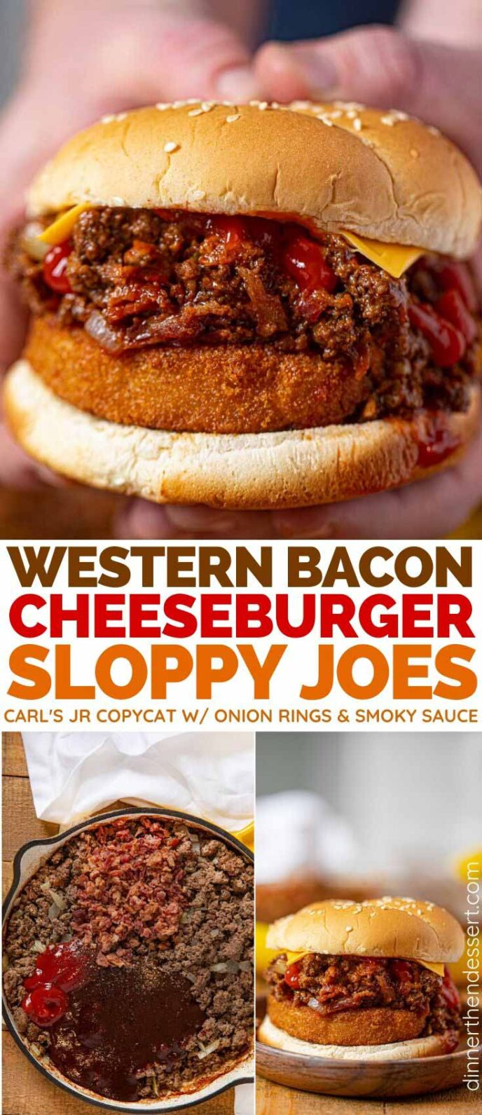 Collage photos of Western Bacon Jr. Sloppy Joes sandwich and pan with ingredients