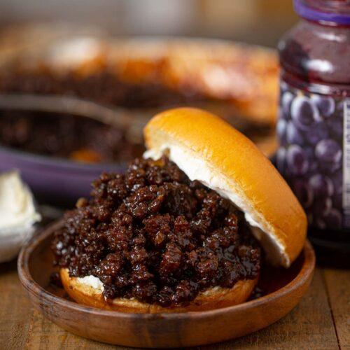 BBQ Grape Sloppy Joes sandwich on plate