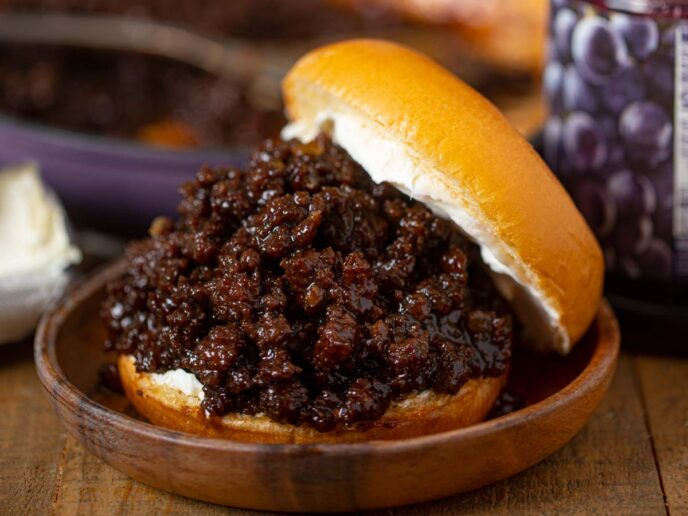 BBQ Grape Sloppy Joes on plate