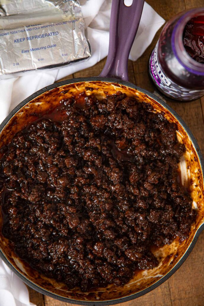 Barbecue Grape Sloppy Joes in pan