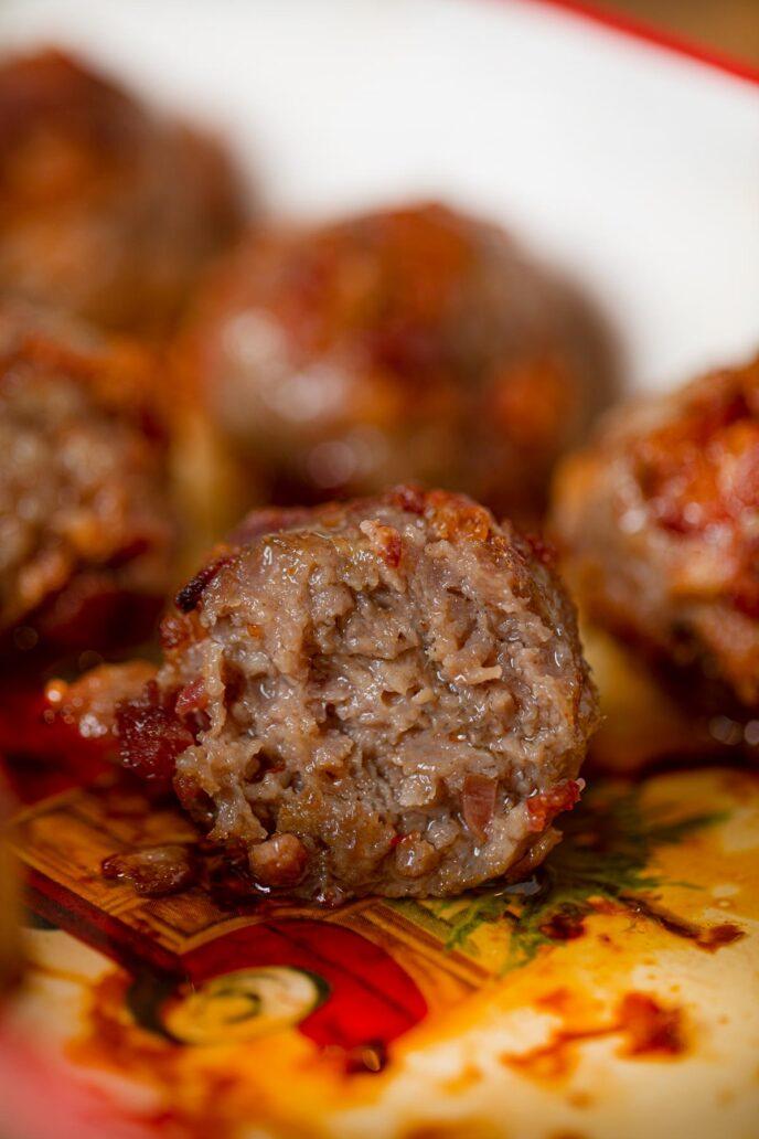 Bacon Meatballs inside of a meatball