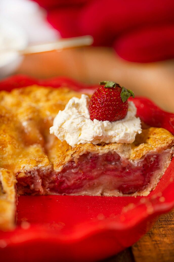 Strawberry Pie on Pie Plate with Slice Removed