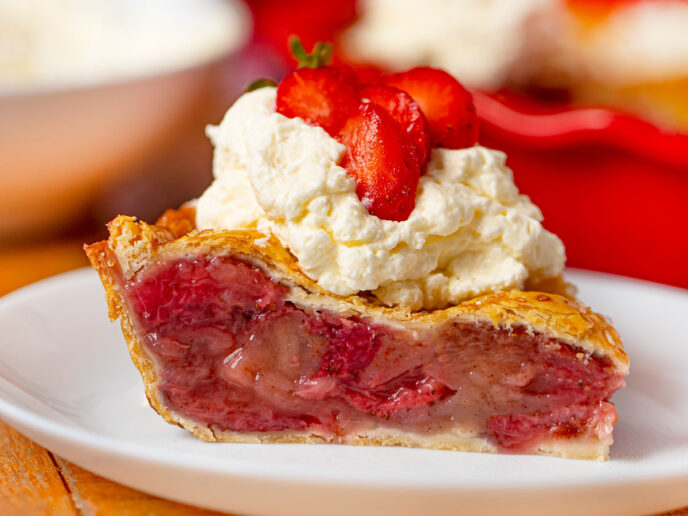 Slice of Strawberry Pie on Plate