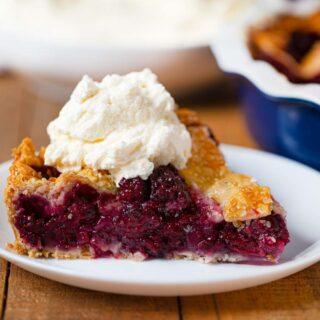 Fresh Blackberry Pie slice on plate