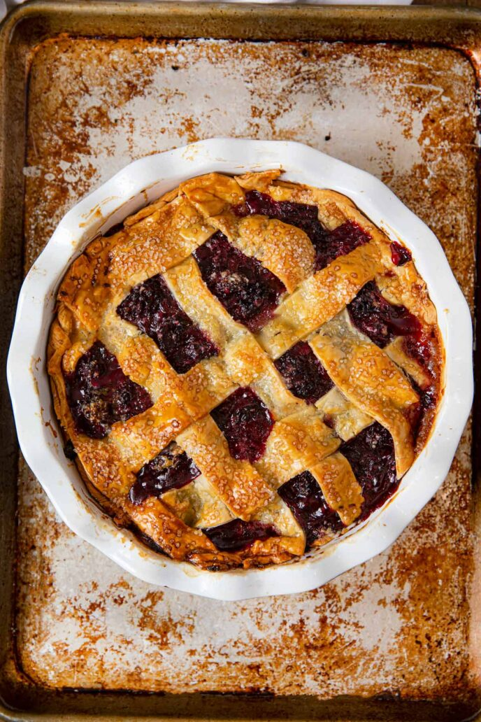 Blackberry Pie whole pie in pie plate
