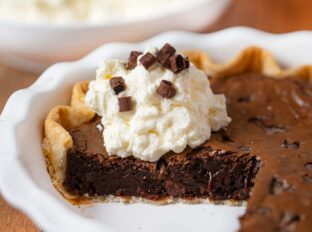 Brownie Pie in Pie Plate with whipped cream
