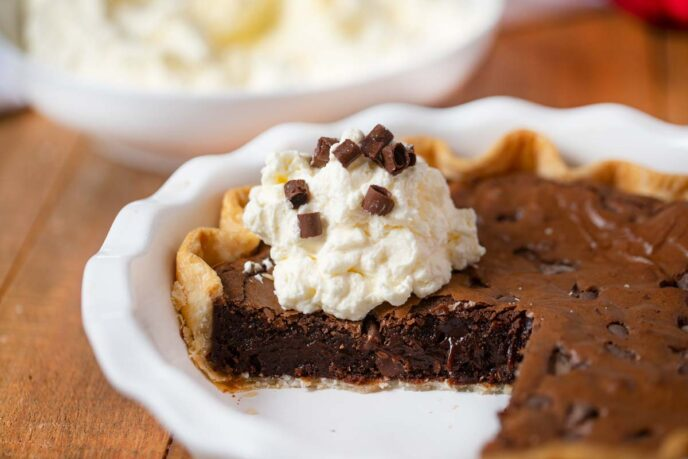 Brownie Pie in a white pie baking plate