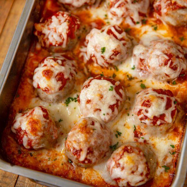 Cheesy Meatball Casserole in baking dish