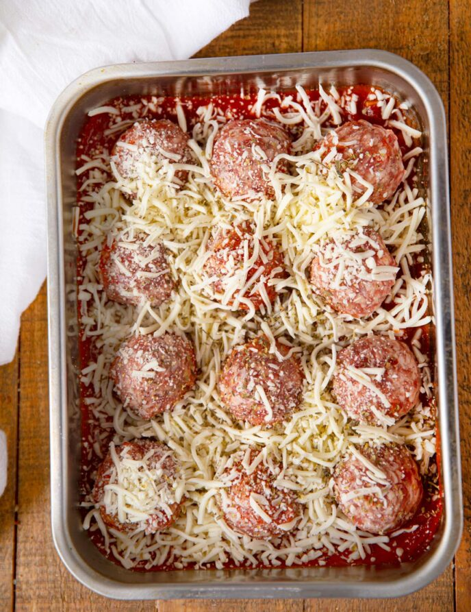 Cheesy Meatball Casserole prepped to bake