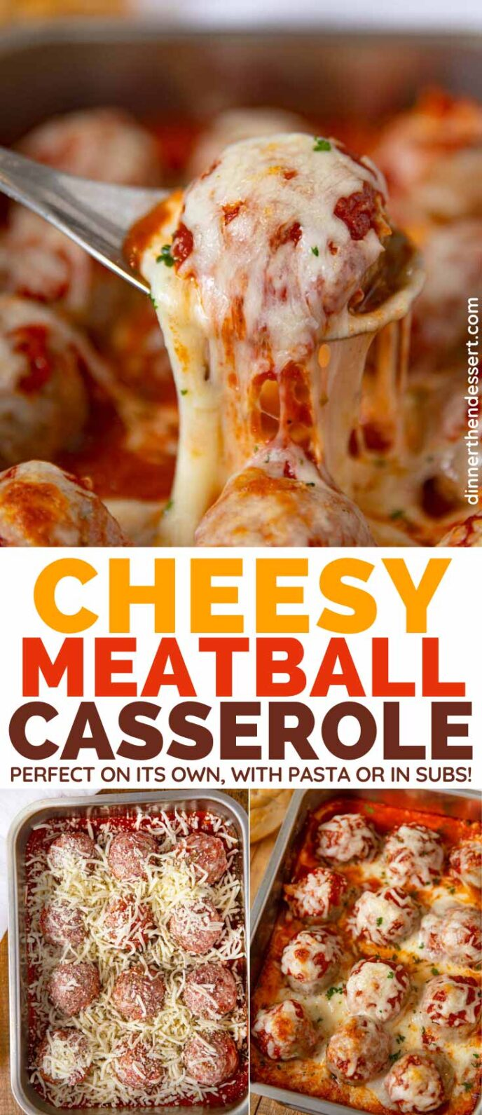 Cheesy Meatball Casserole collage