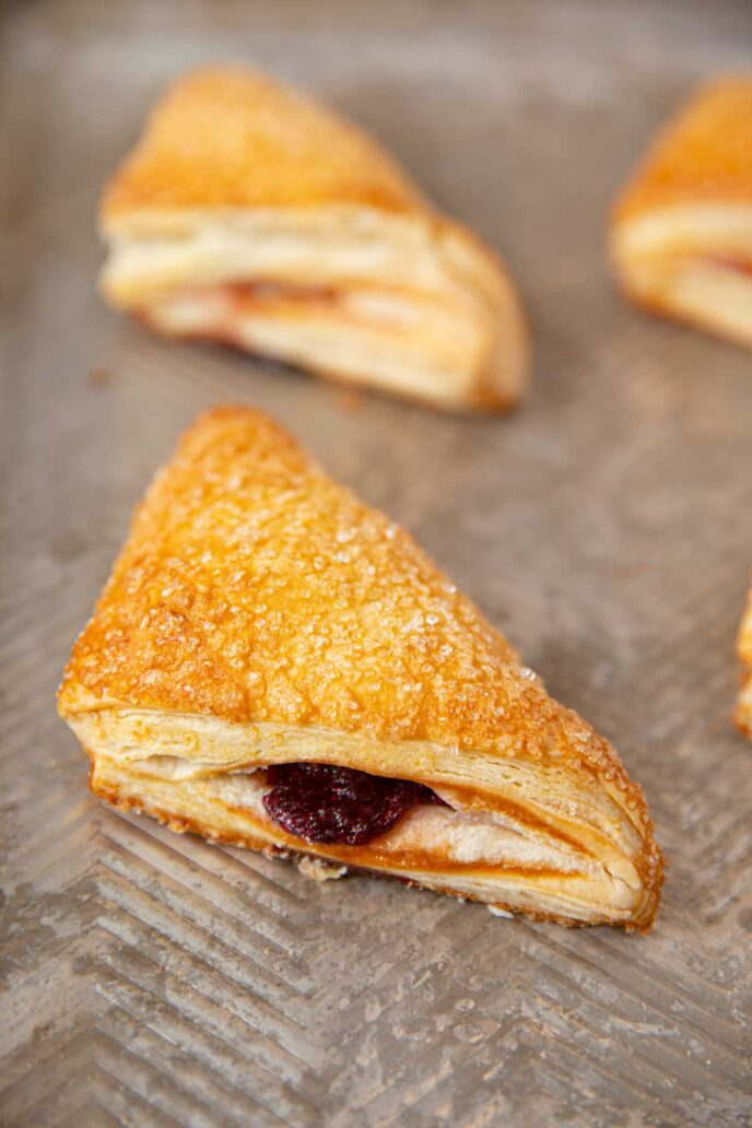Top down picture of cherry turnovers