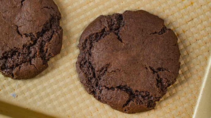 Chewy Chocolate Cookies on baking tray