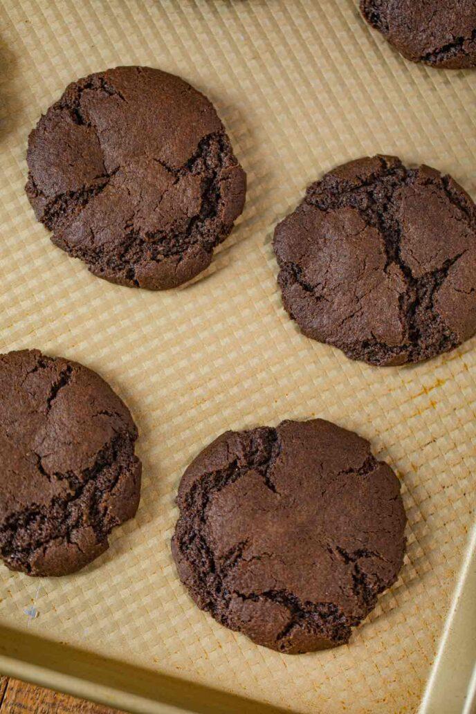 Chocolate Cookies on golden baking sheet