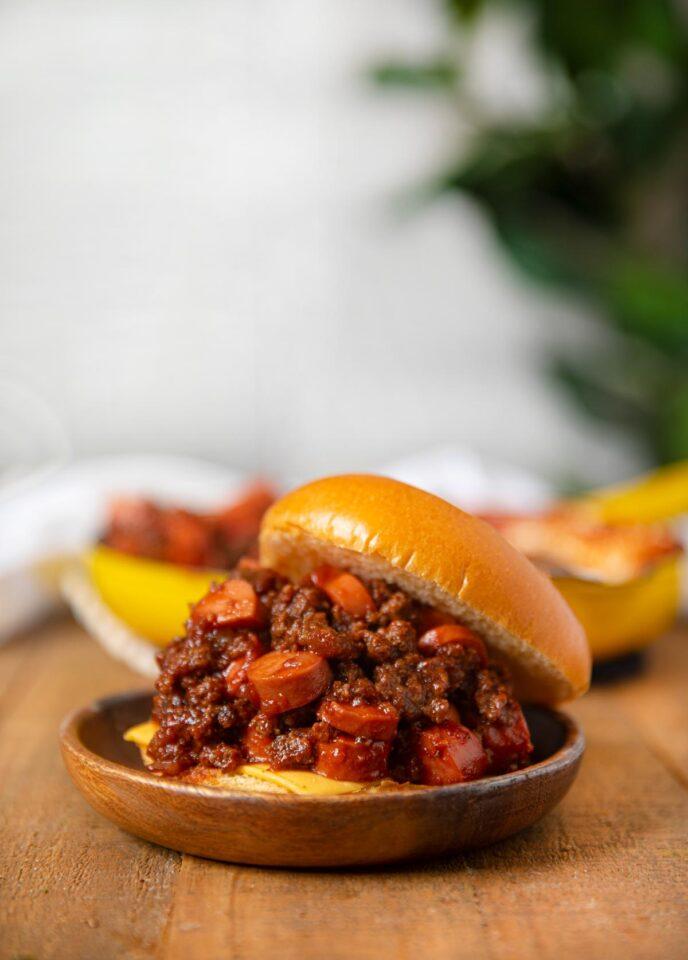 Chili Cheese Dog Sloppy Joe sandwich