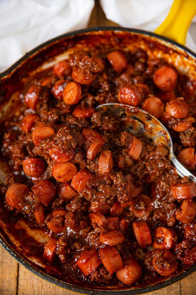 Chili Cheese Dog Sloppy Joes meat in pan