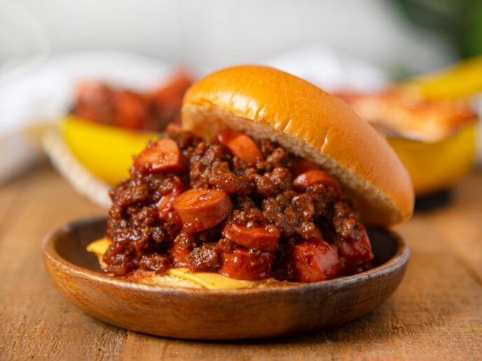Chili Cheese Dog Sloppy Joes on plate