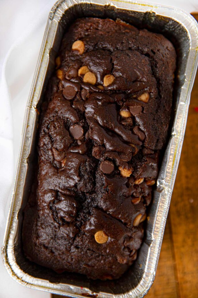 Chocolate Peanut Butter Chip Bread in loaf pan