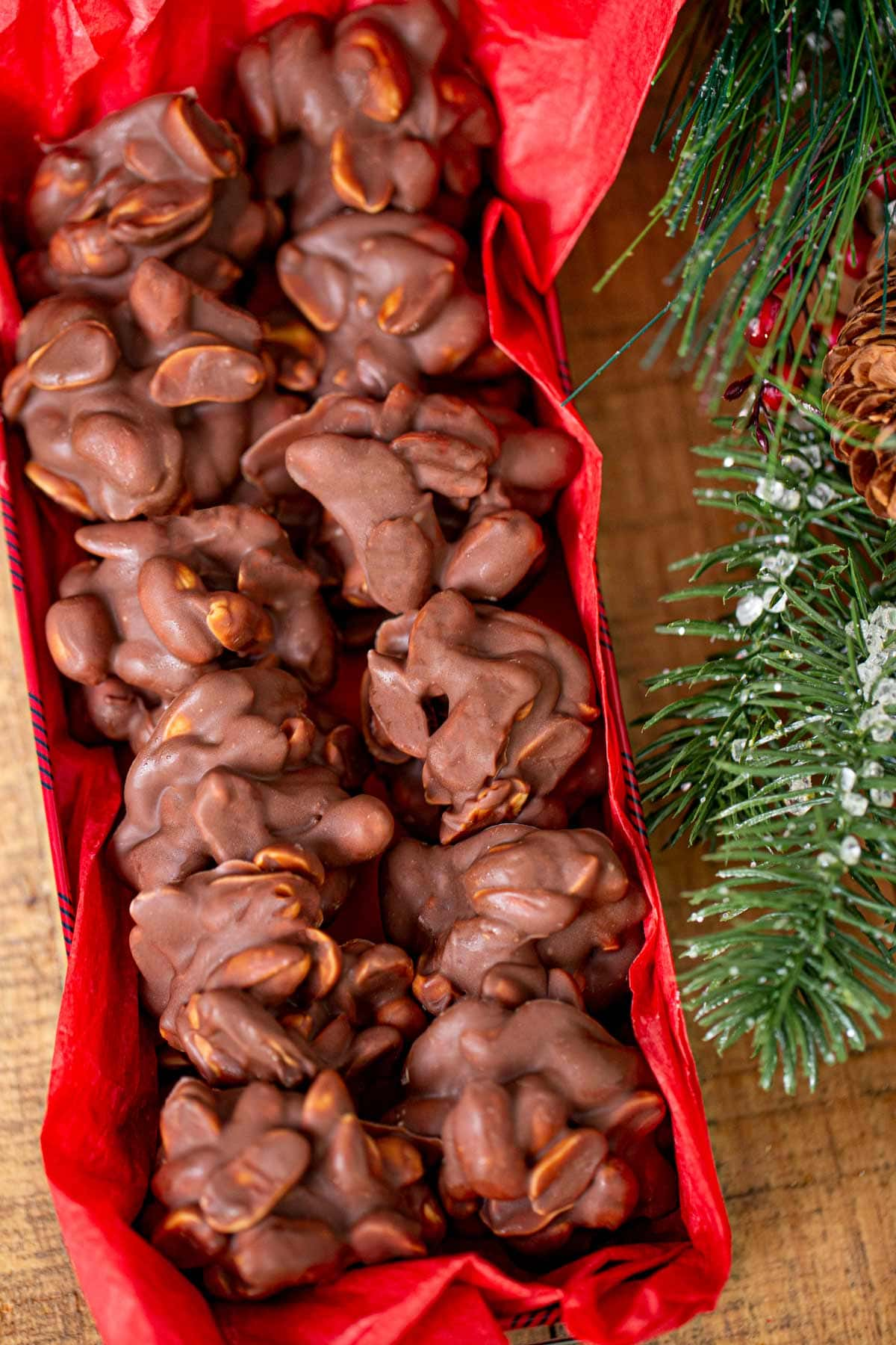 Chocolate Peanut Clusters in decorative box