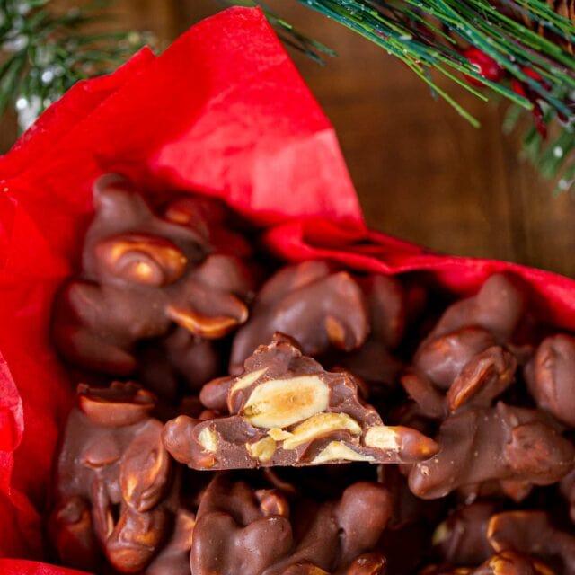 Chocolate Peanut Clusters in decorative box