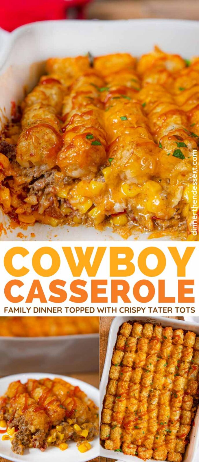 Cowboy Tater Tot Casserole collage