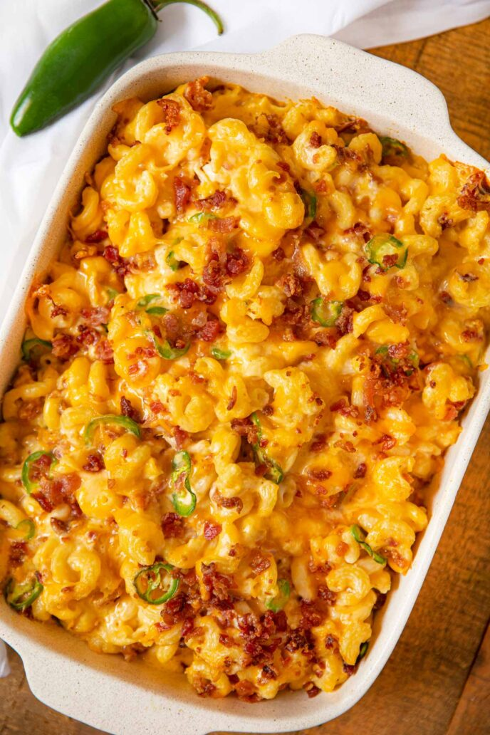 Bacon Jalapeño Popper Mac and Cheese in baking dish