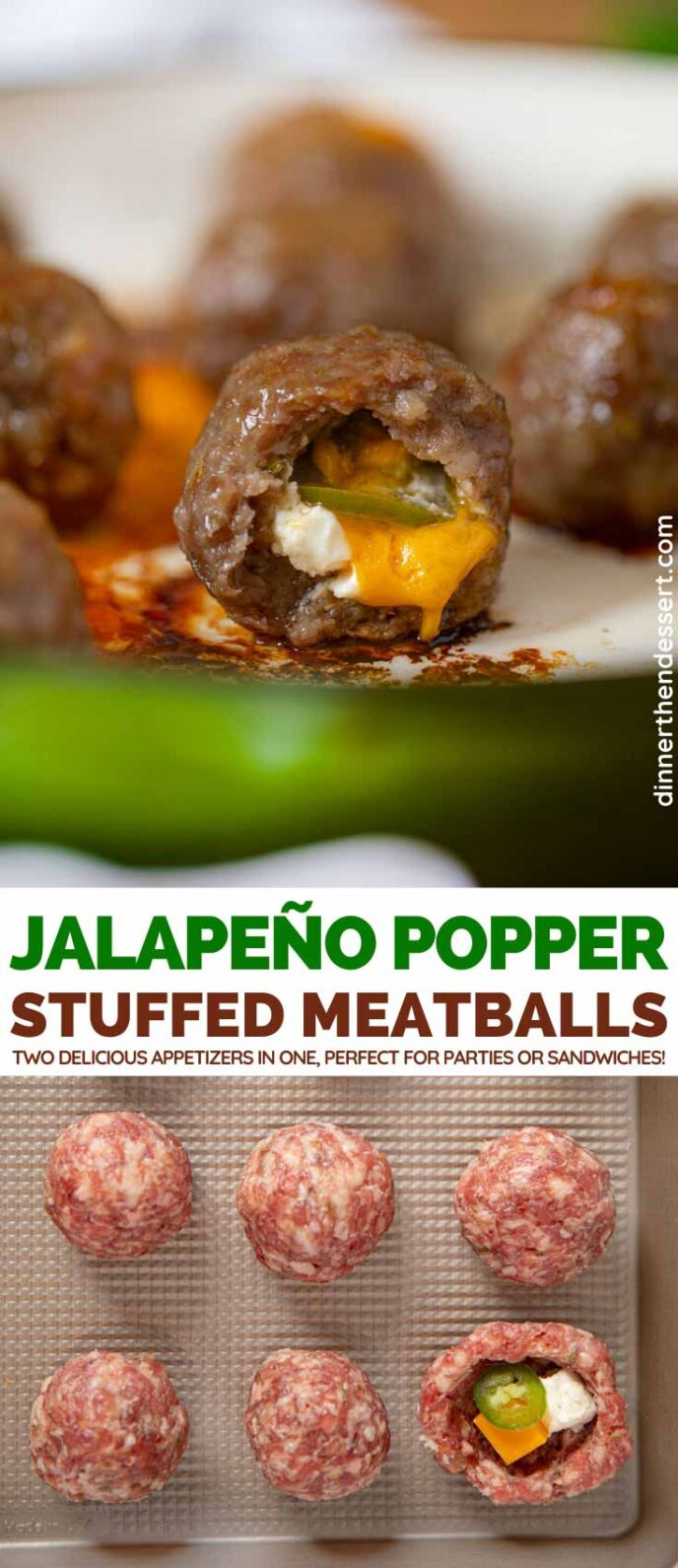 Jalapeno Popper Stuffed Meatballs collage