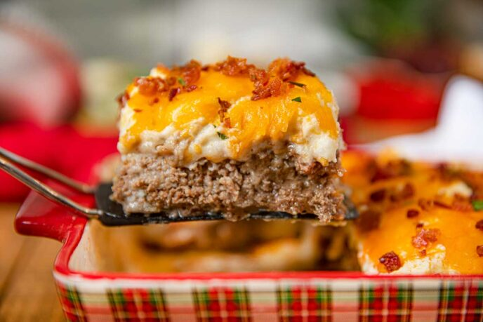 Loaded Meatloaf Casserole with Mashed Potatoes