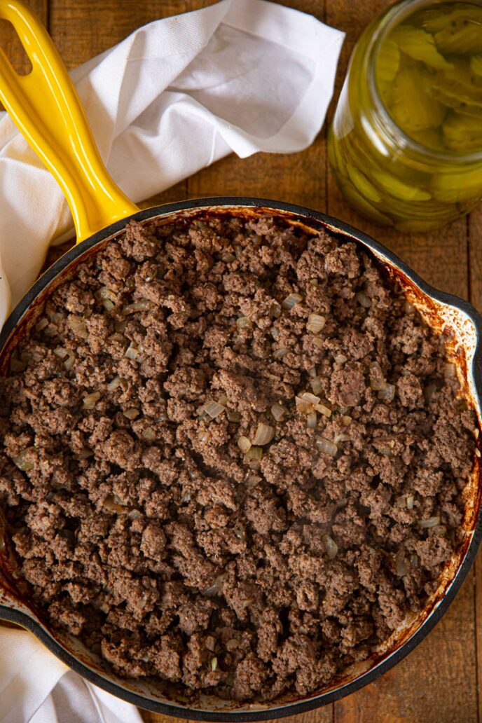 pan of ground beef for loose meat sandwiches