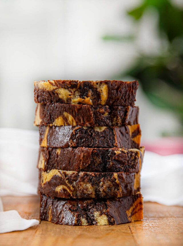 Chocolate Marble Cake slices in a stack