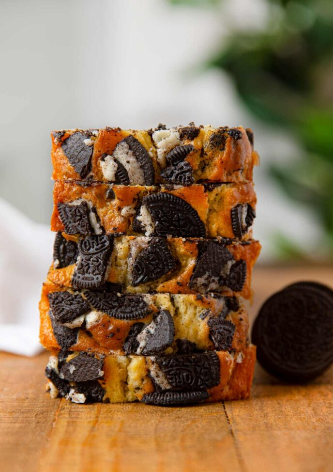 Oreo Bread in a stack