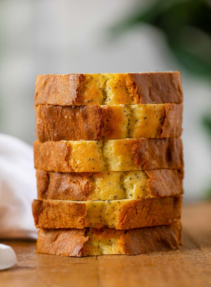 Poppy Seed Bread slices in a stack