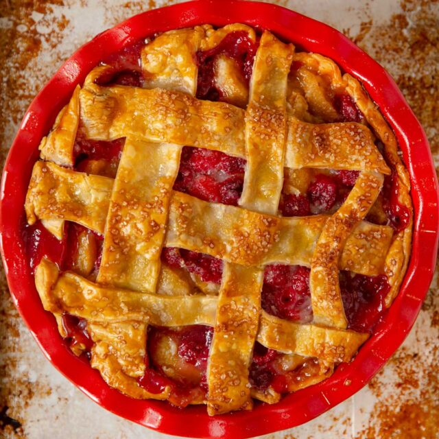 Raspberry Peach Pie top-down in pie tin