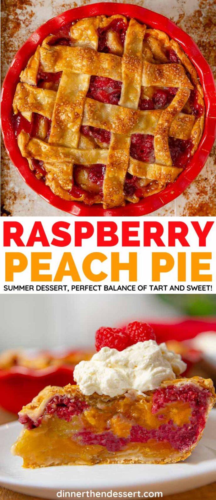 Raspberry Peach Pie collage